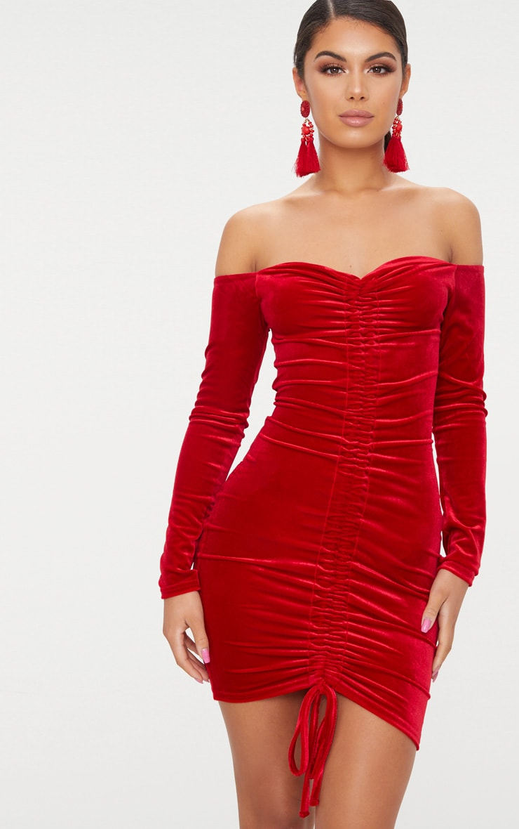 Red Velvet Bardot Long Sleeve Ruched Bodycon Dress 1