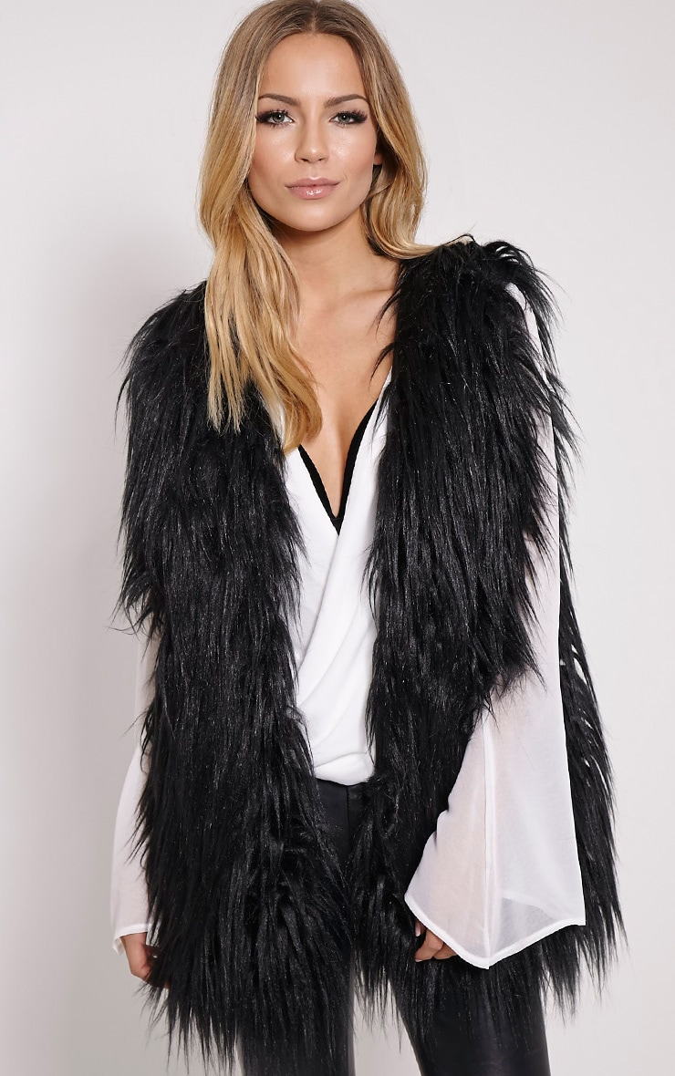 Kely Black Long Line Faux Fur Gilet 1