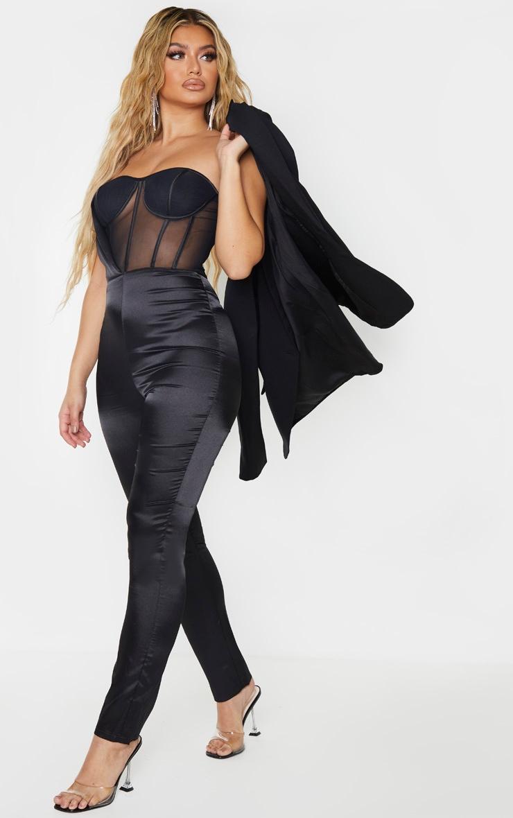 Combinaison satinée noire à corset mesh 1