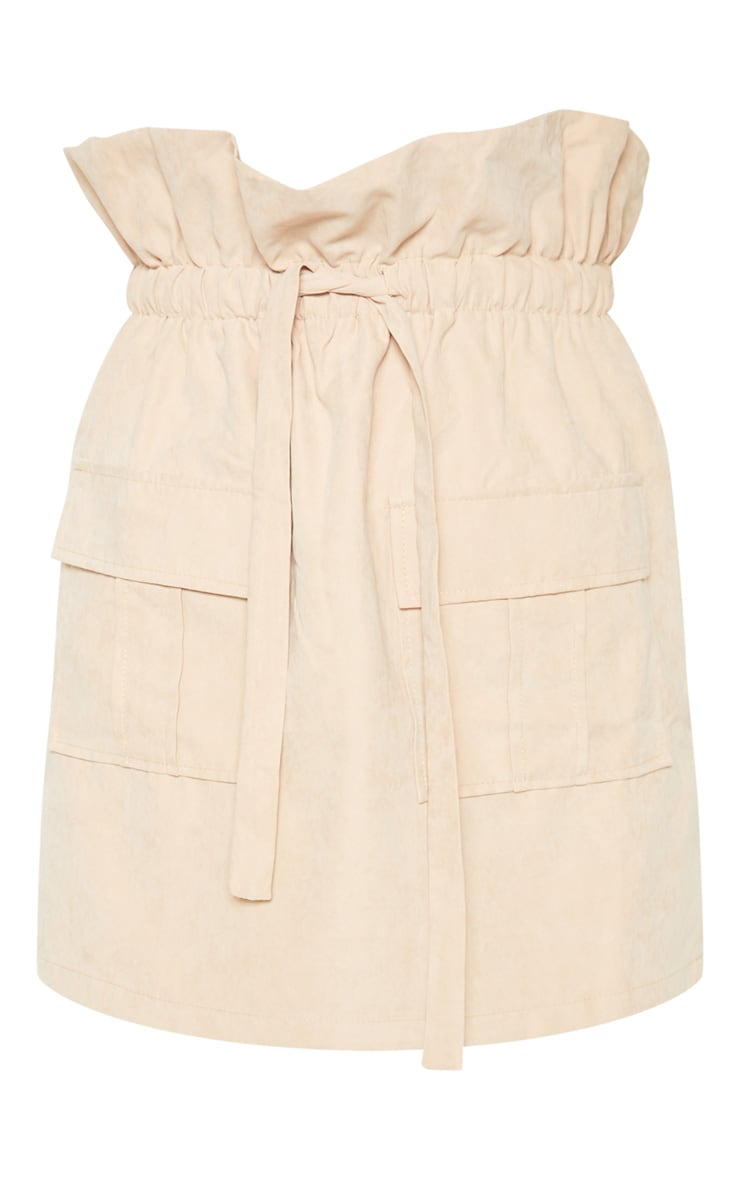 Camel Faux Suede Paperbag Waist Mini Skirt  3