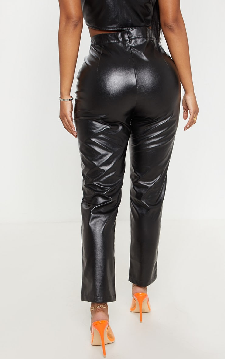 Shape Black Faux Leather Straight Leg Trouser  4