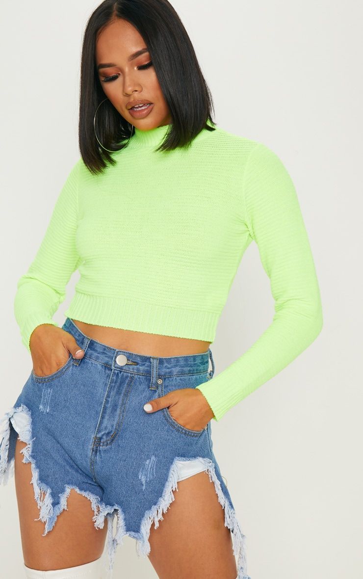 Neon Lime Ribbed Cropped Knitted Jumper 1