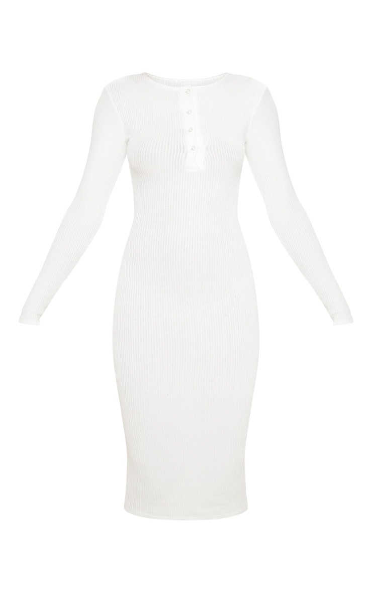 White Brushed Rib Button Front Midaxi Dress 3