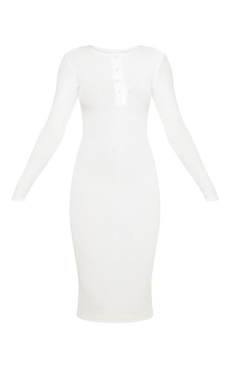 Robe longue blanche en maille côtelée brossée à boutons devant 3