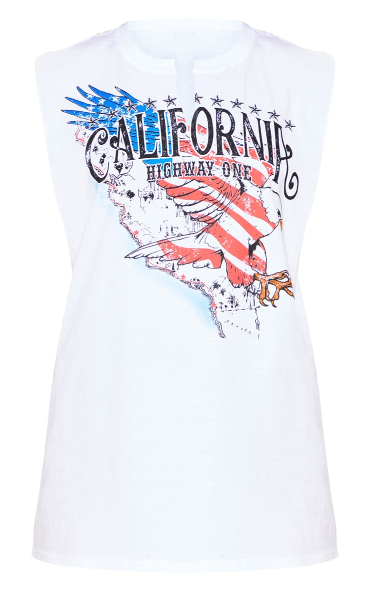 White California Slogan Oversized Vest 3