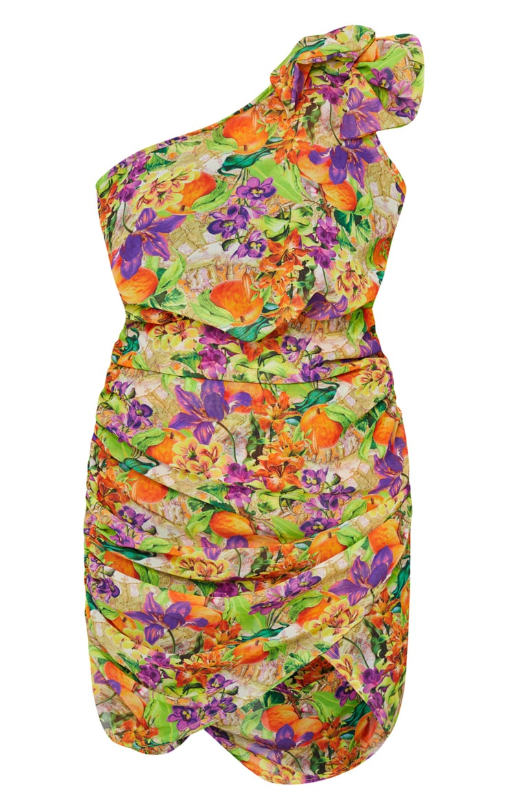 Purple Floral Fruit Ruched Bow Shoulder Beach Dress 5