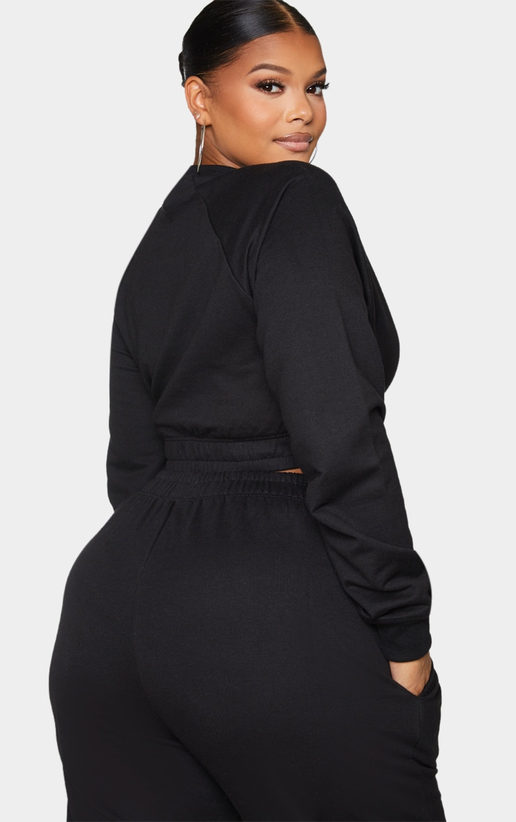 Plus Black California Cropped Sweatshirt 2