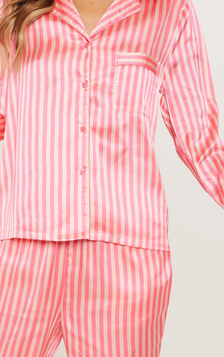 Pink Long Striped Satin Pyjama Set 5
