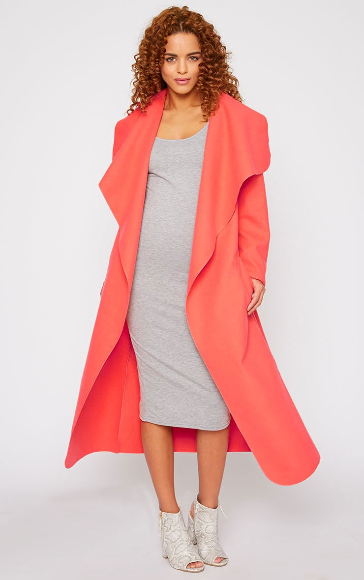 Veronica Coral Oversized Waterfall Belt Coat 3