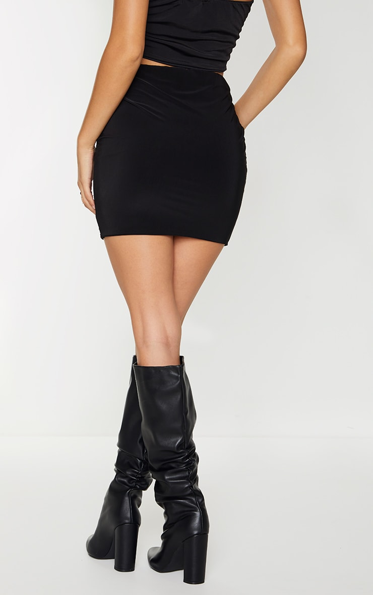 Black Slinky Ruched Front Mini Skirt 3