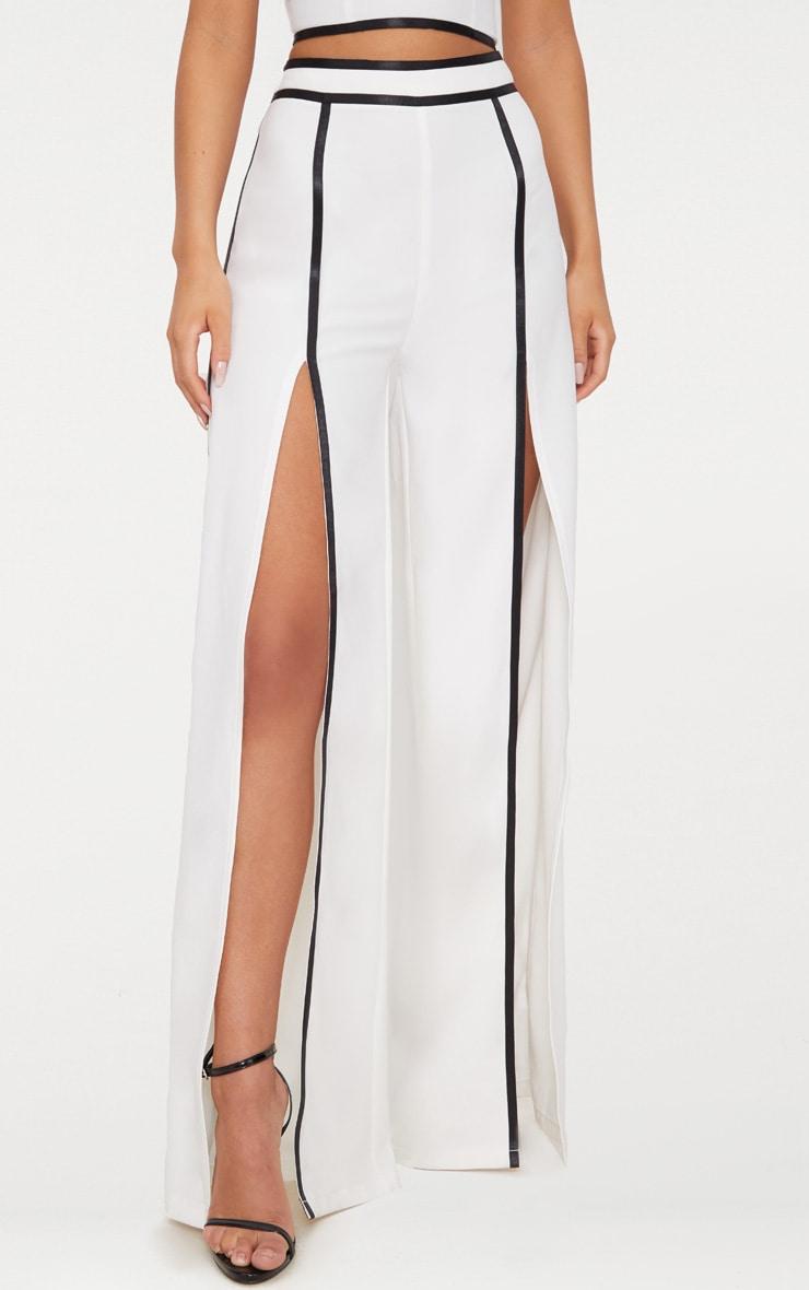 White Contrast Binding Split Front Wide Leg Trouser 2