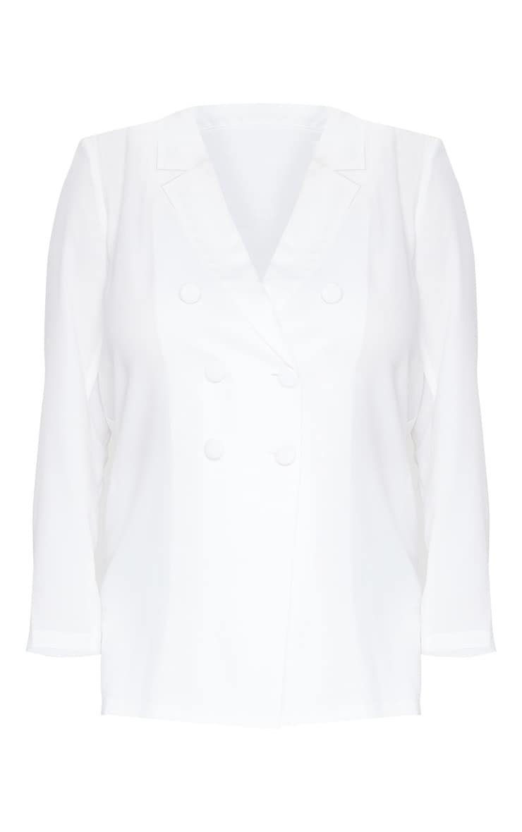 Plus Cream Oversized Longline Button Detailing Blazer 5
