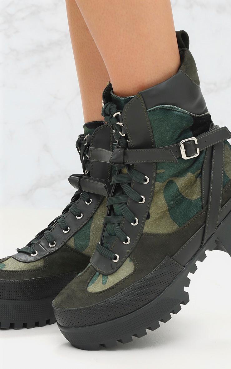 Bottes de biker kaki camouflage 5