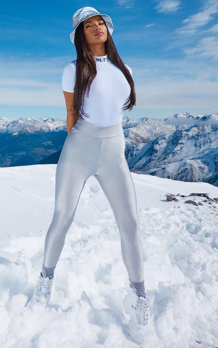 PRETTYLITTLETHING White Slogan High Neck Short Sleeve Bodysuit 5