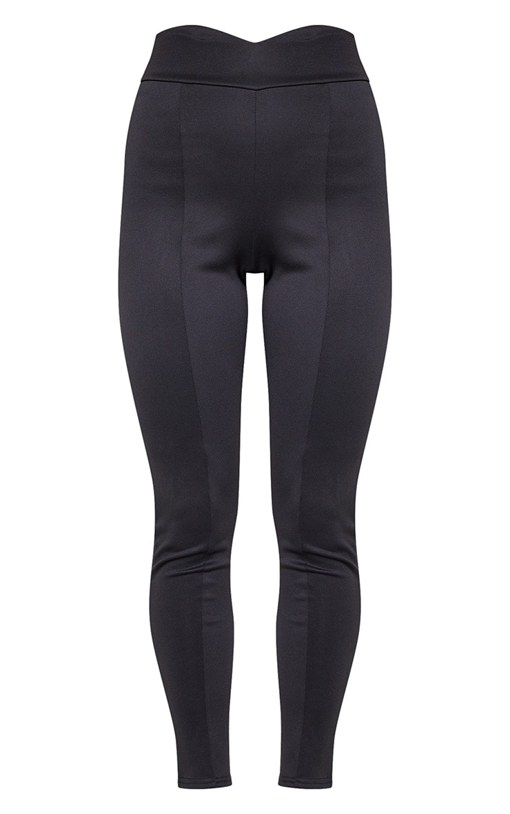 Black Scuba High Waisted V Detail Seamed Legging 4
