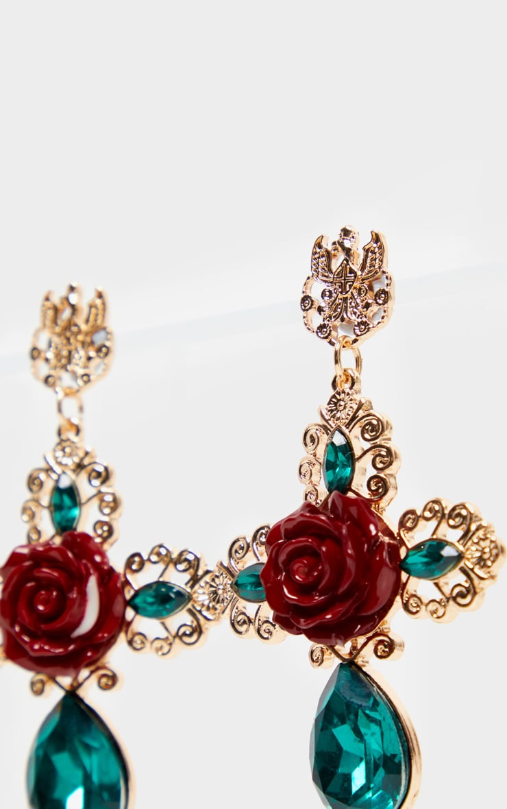 Green Gemstone Red Rose Ornate Cross Earrings 3