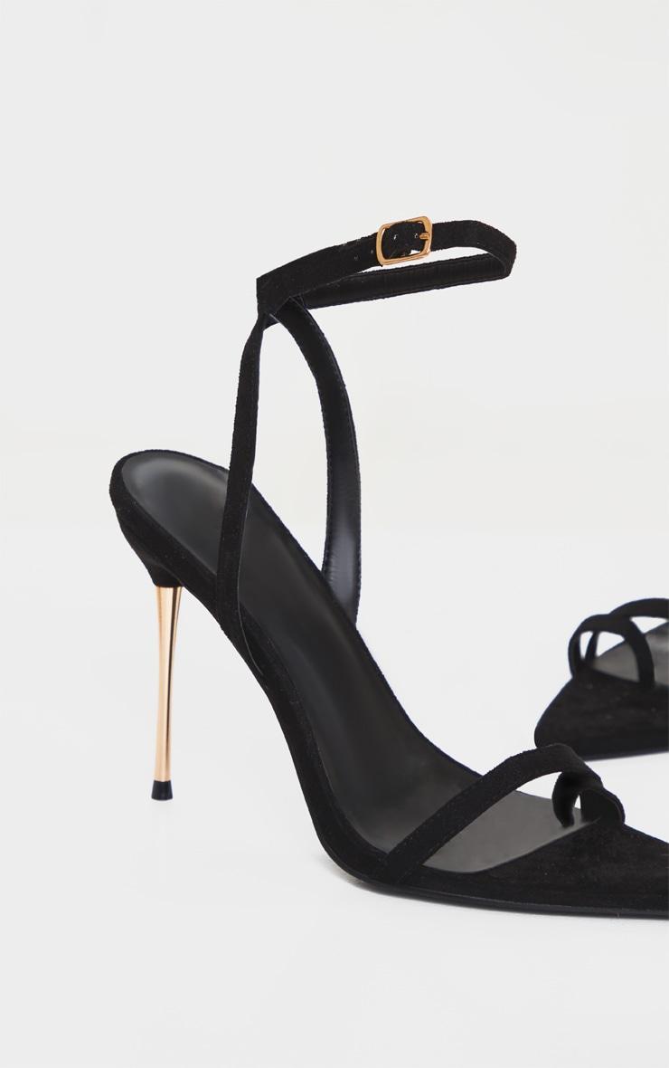 Black Pin Heel Toe Loop Ankle Strap Point Sandal 4