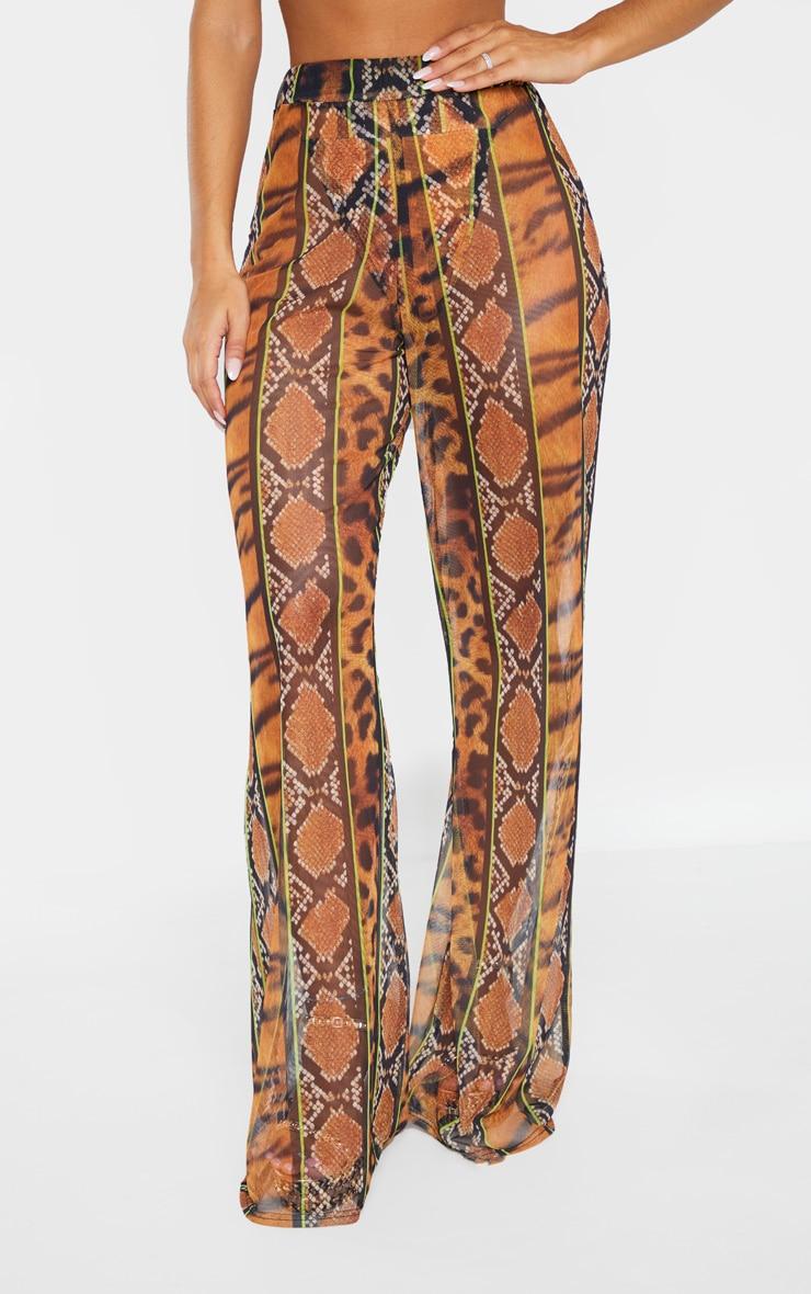 Orange Stripe Tiger Print Mesh Pants 3