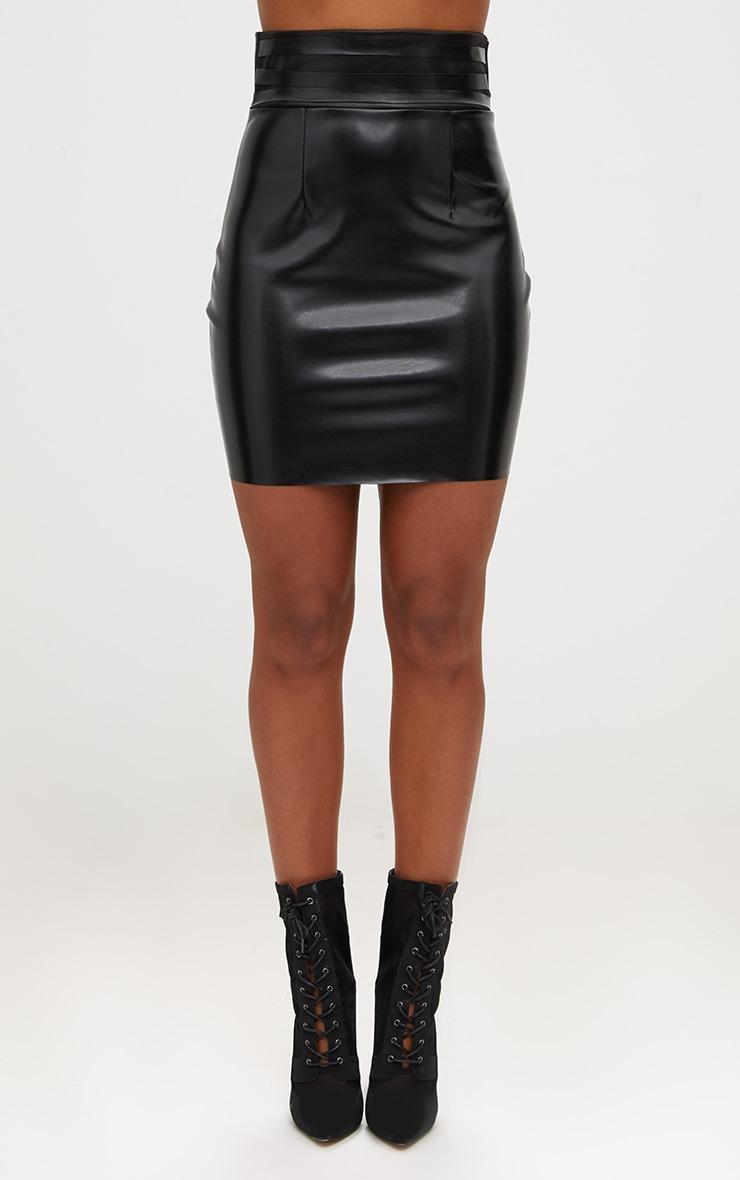 Black Faux Leather Strappy Waist Mini Skirt 2