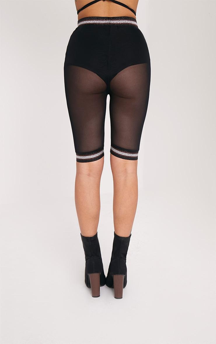 Anzia Black Mesh Metallic Trim Cycle Shorts  4