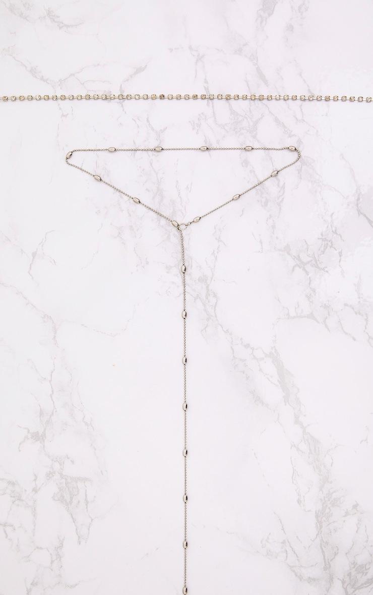 Ras du cou strass et collier pendant perle argenté 2