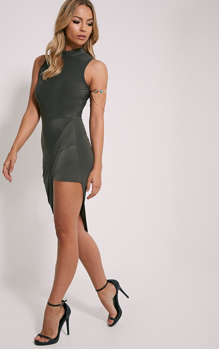 Prim Khaki Slinky Drape Asymmetric Dress 3