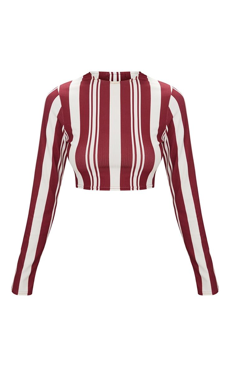 Burgundy Rib Stripe Long Sleeve Crop Top 3
