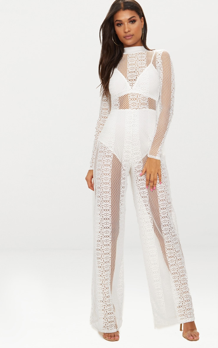 White Lace High Neck Bra Insert Jumpsuit 1