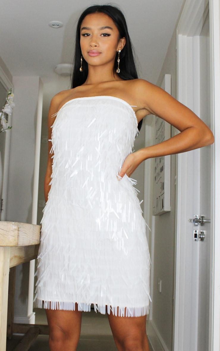 Petite White Tassel Sequin Bandeau Bodycon Dress 1