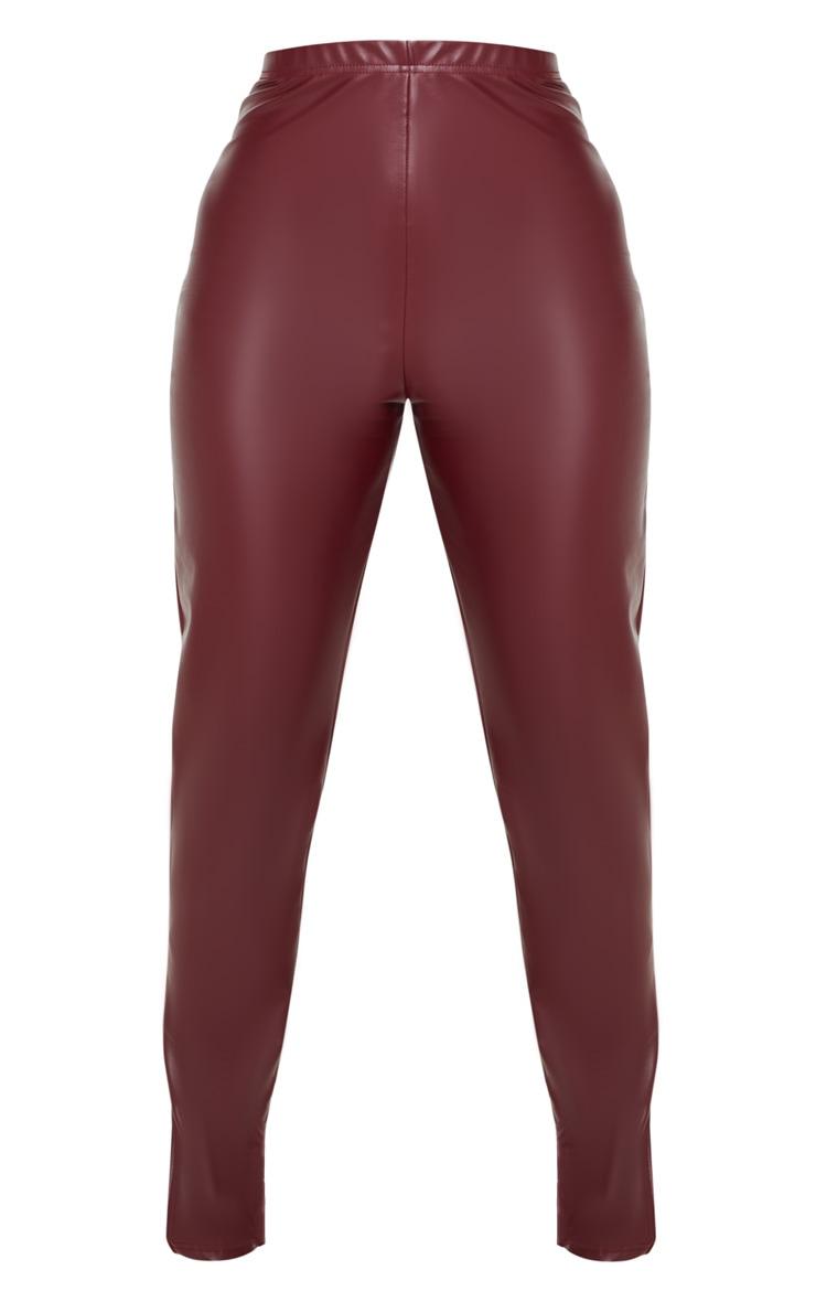 Petite Burgundy Split Hem Flared PU Trouser  3