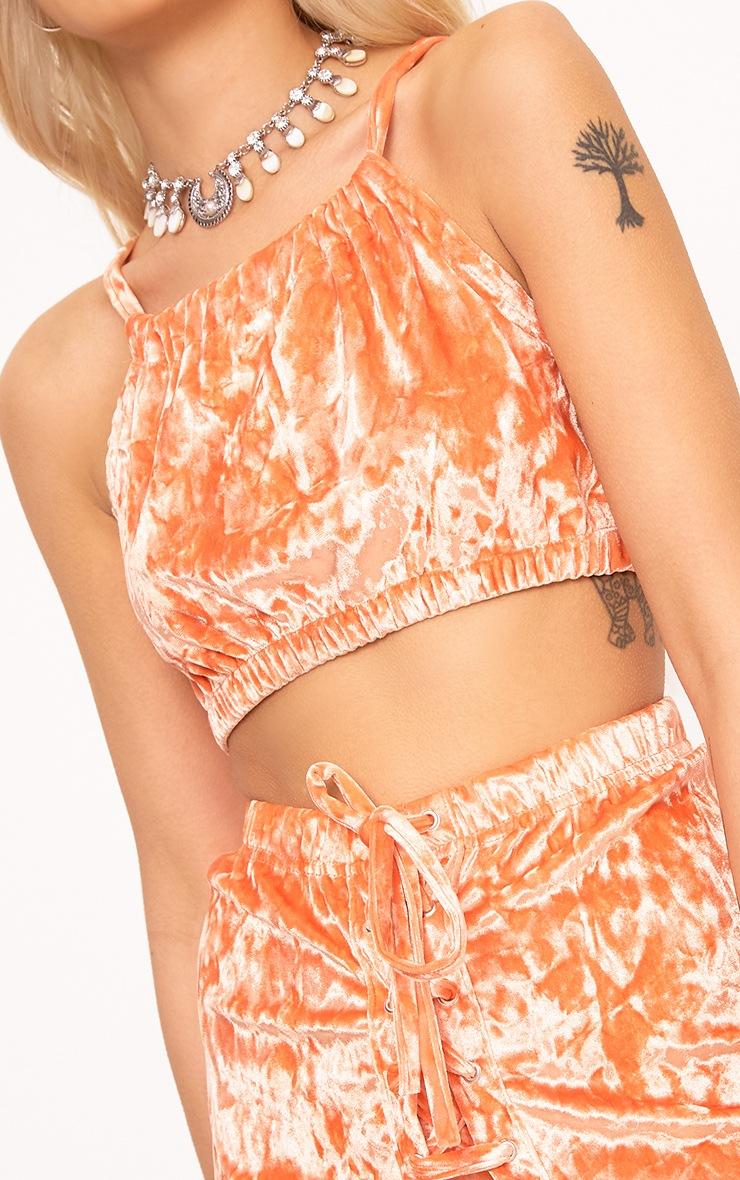 Aletia Orange Velvet Ruched Neck Crop Top 5