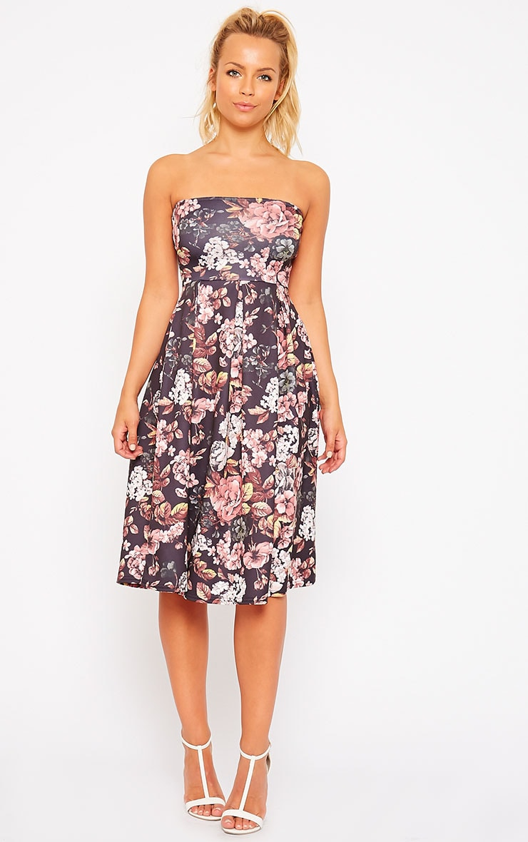 Dacia Black Floral Bandeau Skater Dress 4
