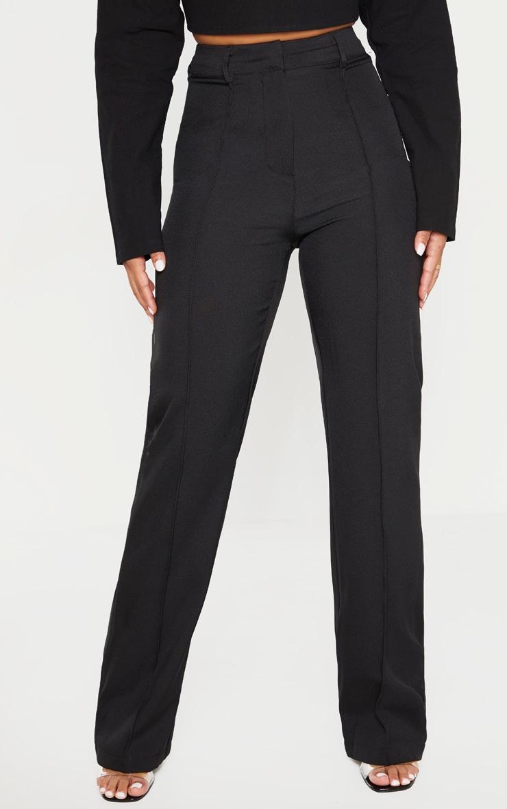 Petite Black High Waist Straight Leg Pants  2