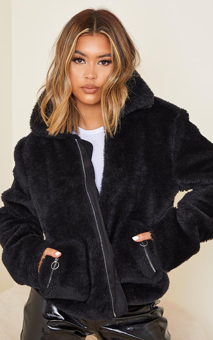 Black Teddy Faux Fur Pocket Front Jacket 1