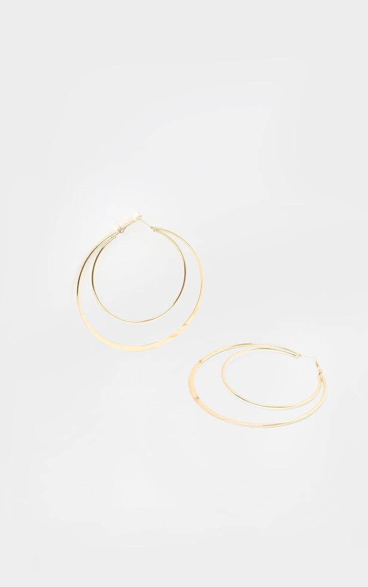 Gold Oversized Double Hoop Earrings 2