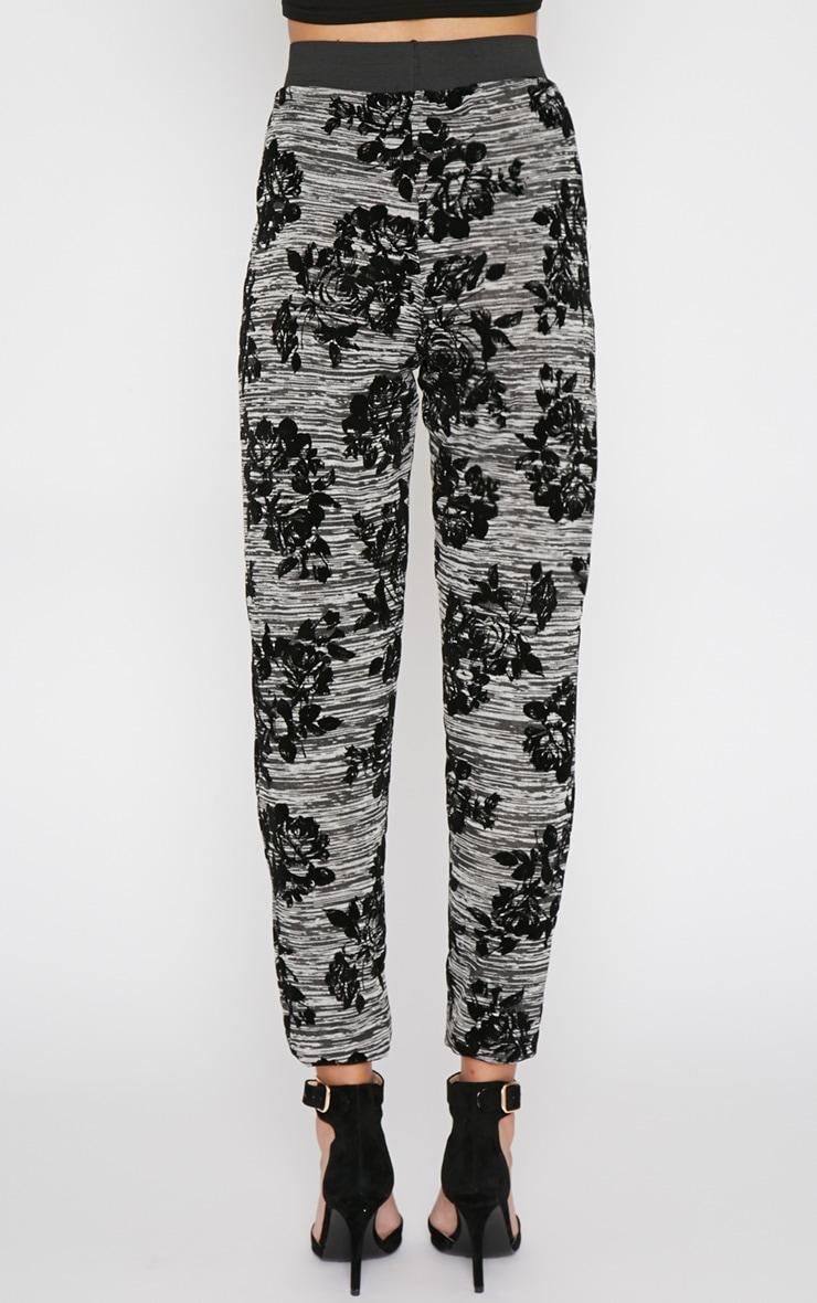 Siba Grey Floral Trouser  2