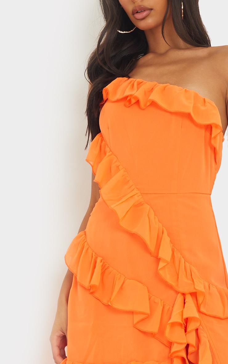Bright Orange One Shoulder Frill Split Maxi Dress 4