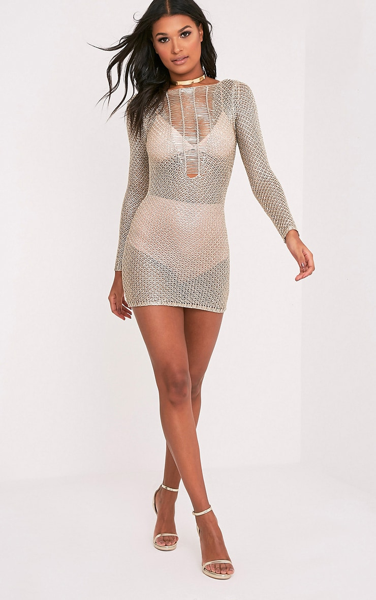 Petite Kay robe mini or métallisé maille échelle 1