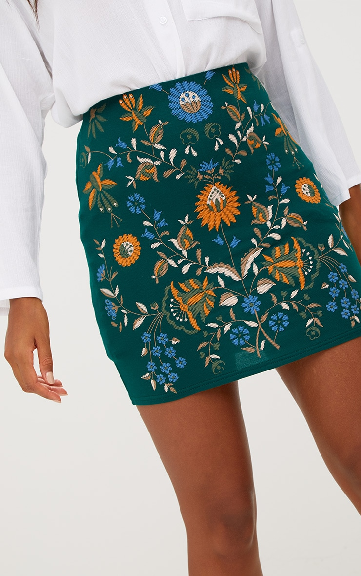 Forest Floral Embroidery Print Mini Skirt 5