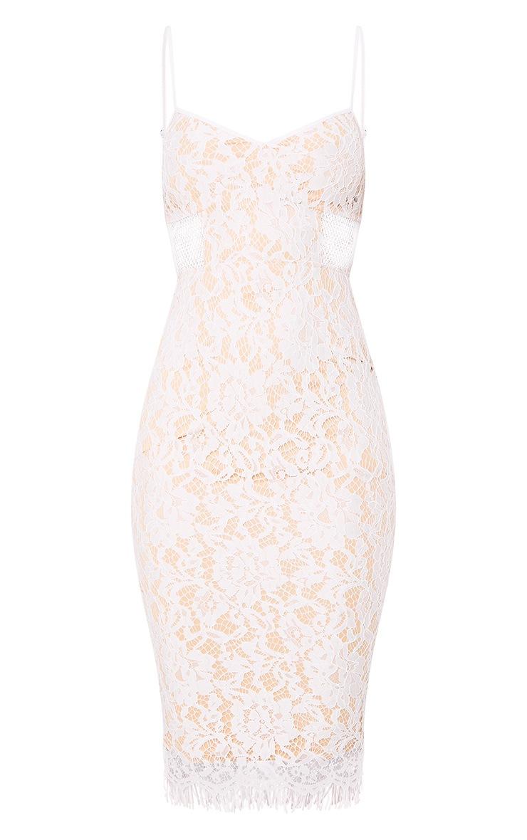Beatrice White Lace Fishnet Panel Midi Dress 3
