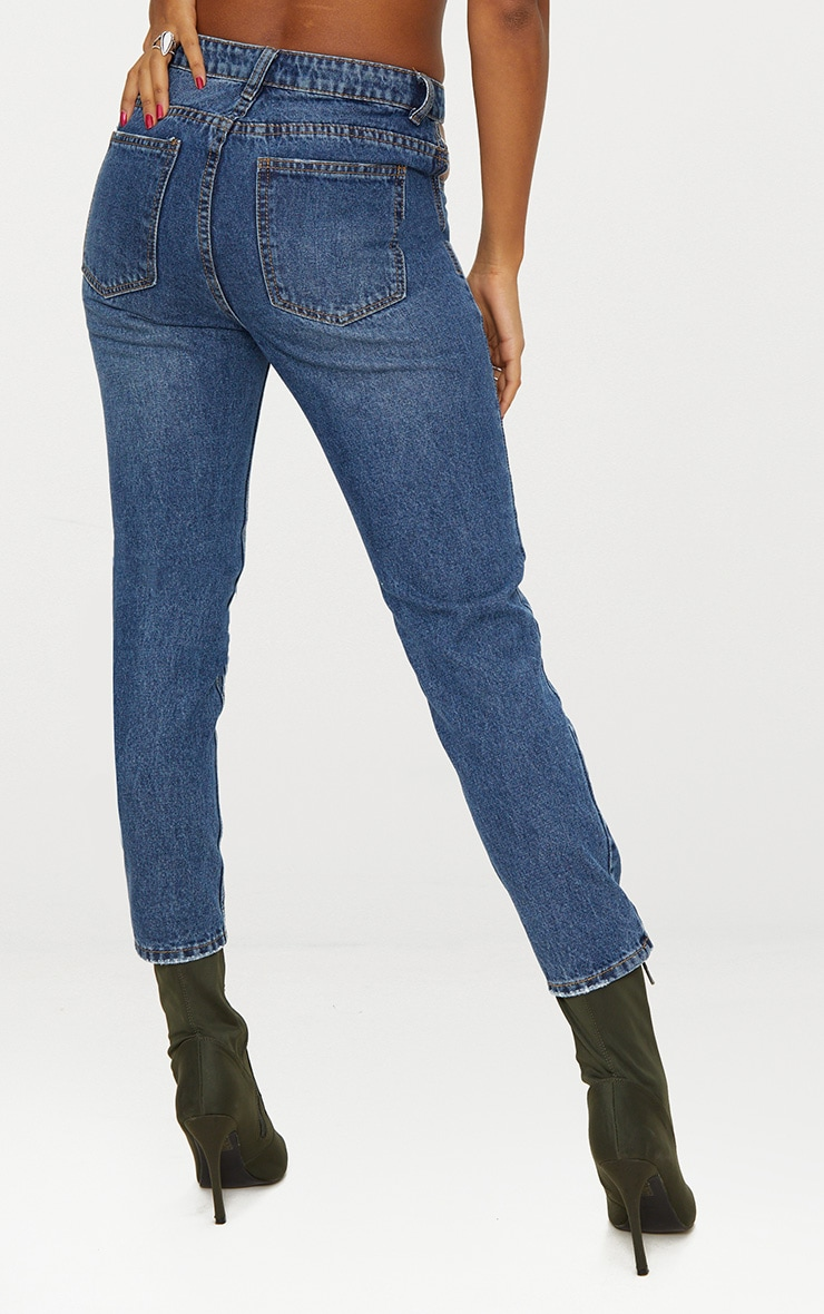 Mid Wash Cut Out Straight Leg Jean  3