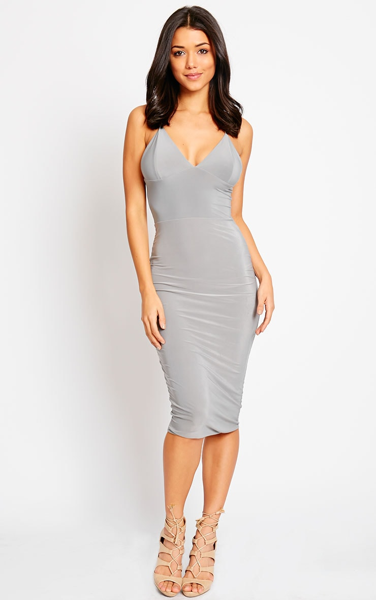Deanna Grey Slinky Cross Back Midi Dress 1