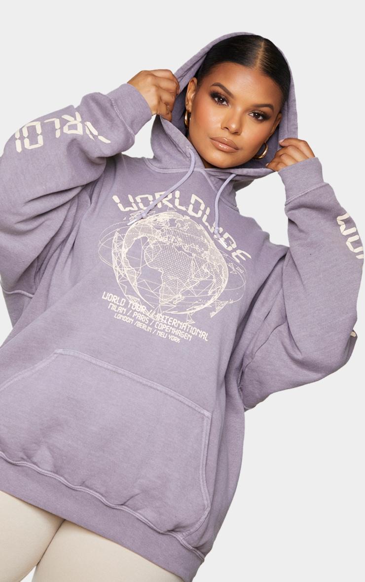 Plus Purple Worldwide Slogan Oversized Hoodie 4
