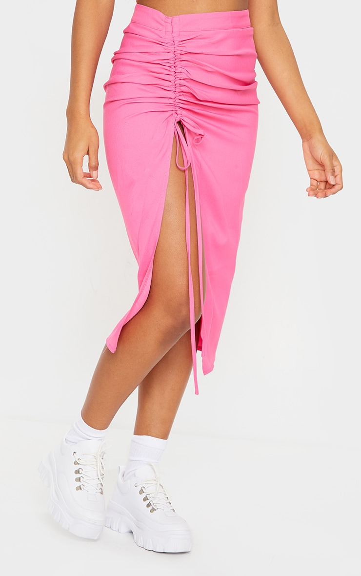Candy Pink Woven Ruched Detail Midi Skirt 2