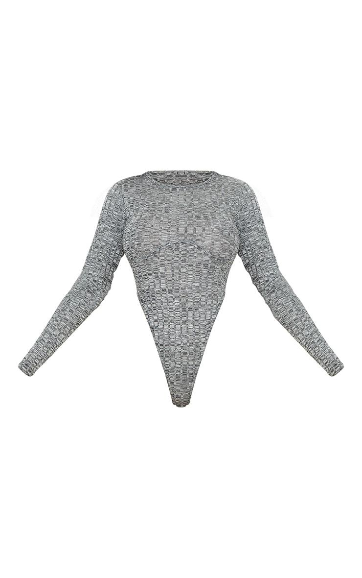 Grey Marl Wide Rib Underbust Detail Extreme High Leg Bodysuit 5