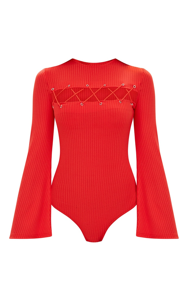Red Lace Up Front Flare Sleeve Thong Bodysuit 2
