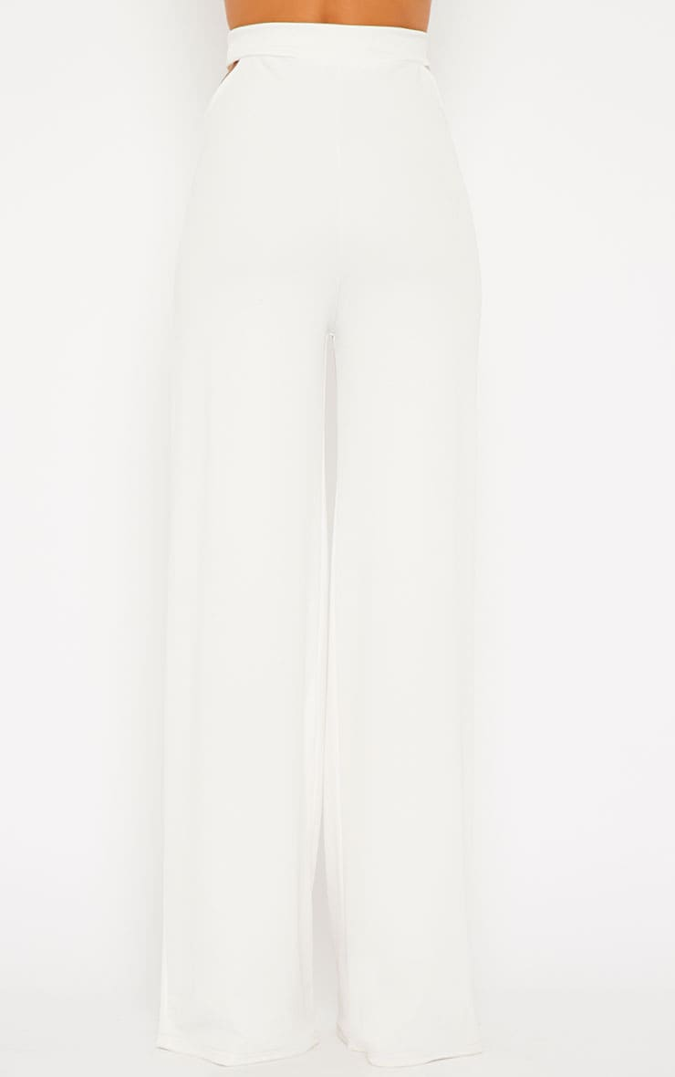 Elphina White Crepe Cut Out Trousers 4