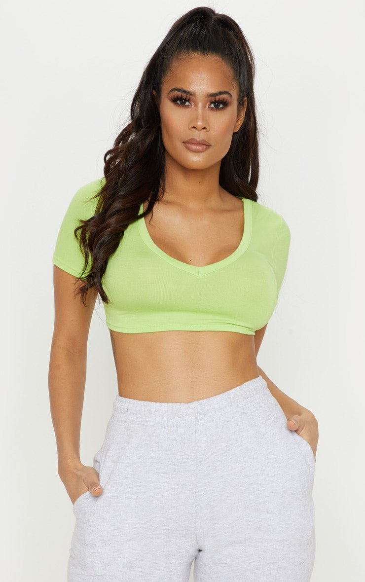 Neon Lime Jersey Short Sleeve V Neck Crop Top