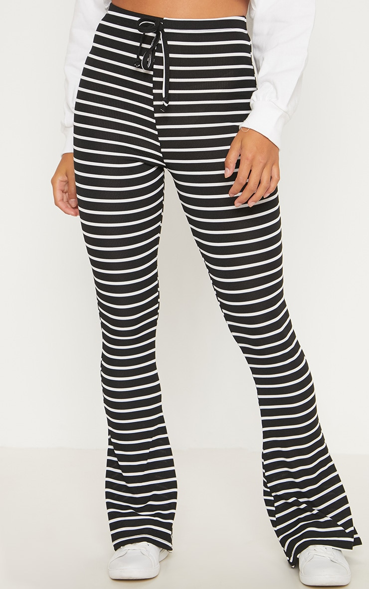 Petite Black Striped Flared Pants 2