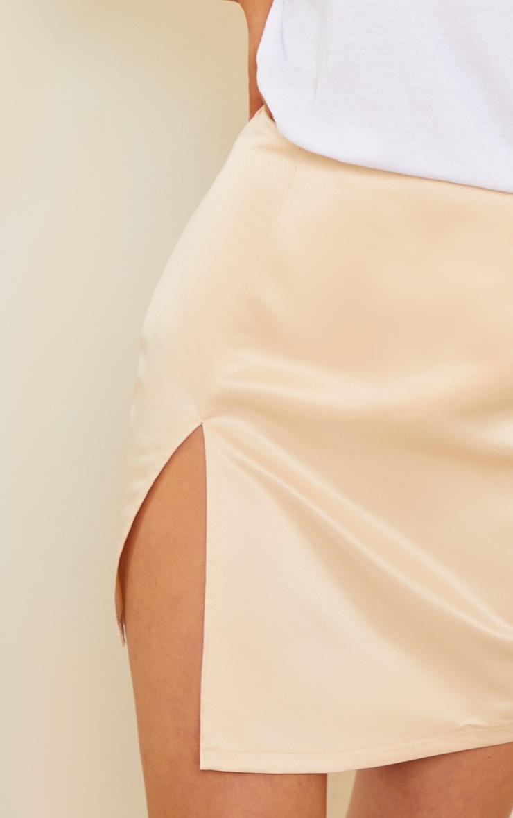 Champagne Tailored Satin Split Front Mini Skirt 5